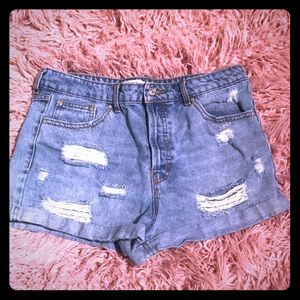 FOREVER21 Distressed High Waisted Jean Shorts 28